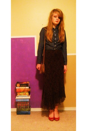 light brown coach bag - blue Forever 21 top - dark brown skirt - red heels