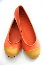 carrot orange leather elf flats