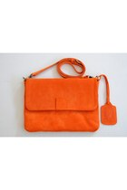 carrot orange suede elf bag