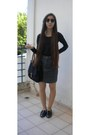 Charcoal-gray-esprit-skirt-black-migato-loafers-black-zara-blouse
