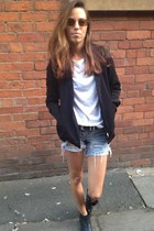 black black blazer American Apparel jacket - sky blue River Island shorts