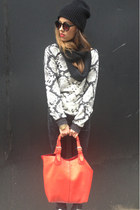 black Mango sweater - black beanie BDG hat - red red bag Oasis bag