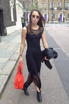 black warehouse dress - black Oasis jacket - red red bag Oasis bag