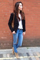 black black blazer American Apparel blazer - light brown Aldo boots