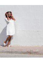 white shirt dress Dress dress - white sunglasses new look sunglasses