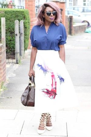 a-line skirt zaful skirt - blue shirt zaful shirt - bag Louis Vuitton bag