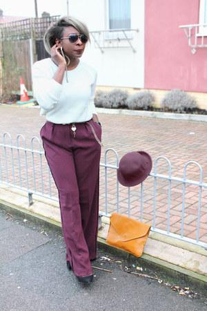 wide leg asos pants - pumps Zara shoes - cream bowler hat H&M hat