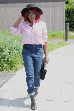 mens shirt crew clothing shirt - mom jeans Topshop jeans - hat H&M hat