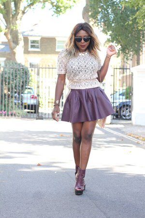 faux leather H&M skirt - clutch new look bag - butterfly asos sunglasses