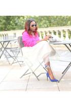 Monica B skirt - pumps Miss Selfridge shoes - faux fur clutch Hobbs bag