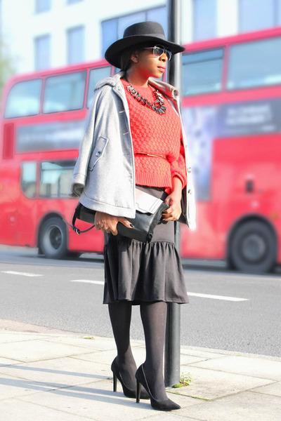 knit asos jumper - heather gray hat H&M hat - black Zara bag