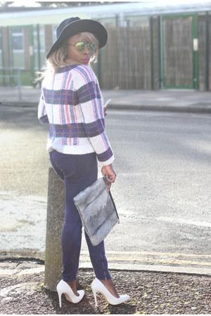fedora asos hat - funnel coat new look coat - navy denim trousers Gap jeans