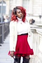 full mini skirt Topshop skirt - rollneck top Zara top