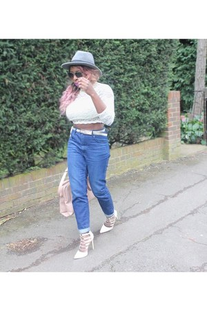 beige lace crop top top - blue mom jeans Topshop jeans - silver fedora H&M hat