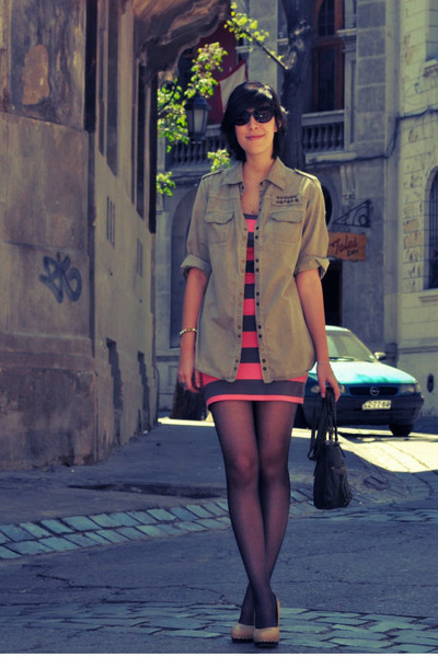 bubble gum H&M dress - dark khaki Zara shirt - dark green Bershka bag