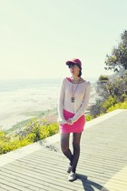 silver Topshop shoes - hot pink H&M dress - white American Apparel sweater