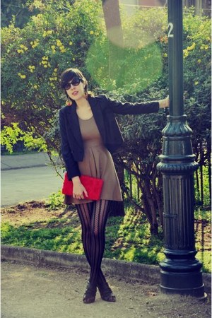 ruby red H&amp;M purse - mustard Zara dress - black H&amp;M blazer - Caffarena tights