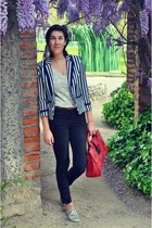 navy H&M blazer - black Mango jeans - ruby red New Yorker bag