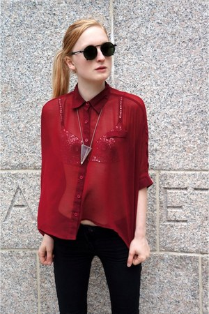 forest green jean paul gaultier sunglasses - ruby red blouse