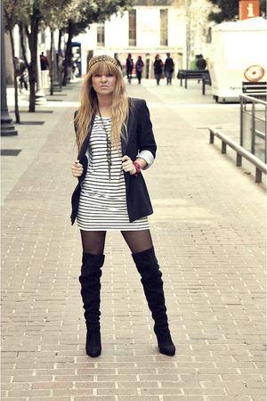 black Primark boots - blue Zara blazer - white hm t-shirt
