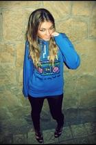 black Mango leggings - black Forever21 shoes - blue YATT shirt