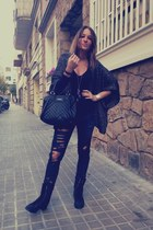 black boots boots - black Mango bag - black Bershka pants