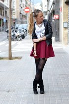 black Topshop jacket - white Boy London shirt - maroon Forever 21 skirt