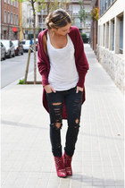 brick red Topshop cardigan - ruby red Stradivarius boots