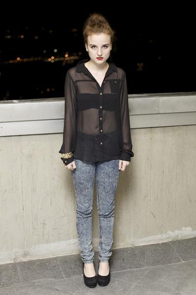 chiffon Topshop shirt - cheap mondays jeans - Miss Kg wedges