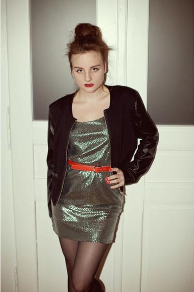silver sequin vintage dress - black leather H&M jacket