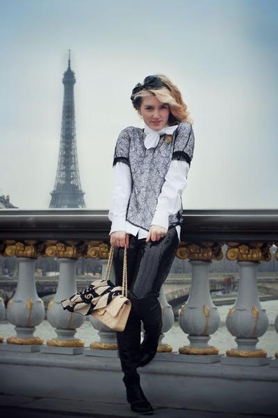 black sequin vintage pants - black lace COS shirt - nude scarf Chanel scarf