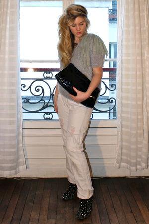 green Suncoo shirt - pink The Kooples jeans - black vintage purse - black LF sho