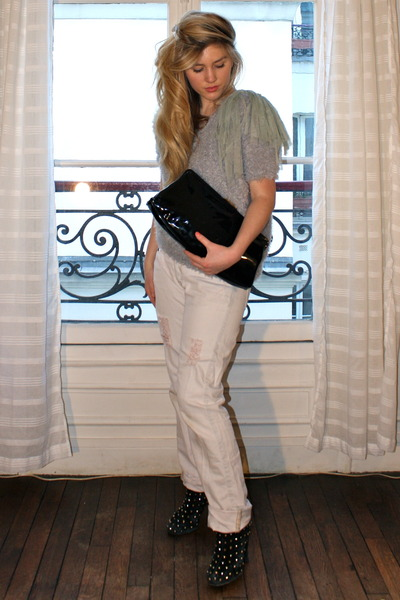 green Suncoo shirt - pink The Kooples jeans - black vintage purse - black LF sho