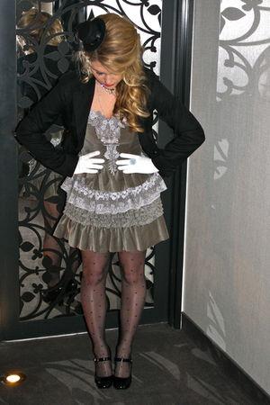 gray Manoush dress - white vintage gloves - black Hussein Chalayan blazer - blac