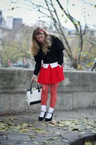red Zara skirt - white Repetto shoes - white vintage bag - white Burberry shirt