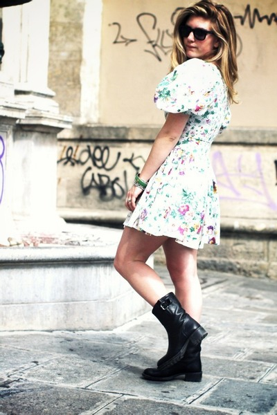 black motorcycle Garrice boots - floral vintage dress