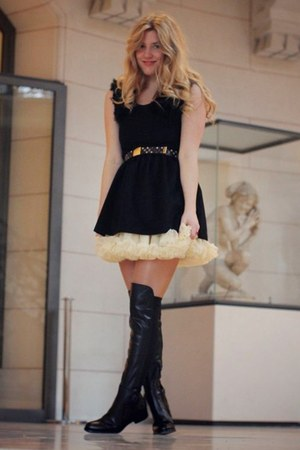 Kinji dress - Topshop boots - American Apparel skirt - Louis Vuitton belt
