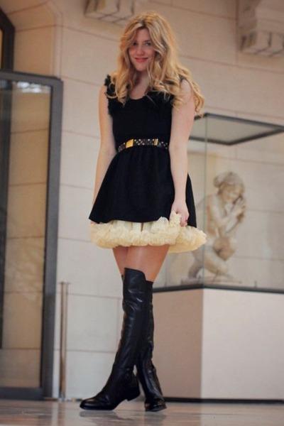 Kinji dress - Topshop boots - American Apparel skirt - Louis Vuitton belt