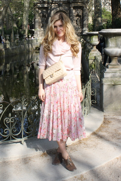 pink Anthropologie sweater - pink vintage dress - beige Tabio tights - brown Fry