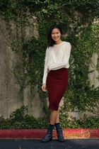 ivory Forever 21 sweater - crimson H&M skirt