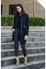 Tan-forever-21-boots-navy-h-m-coat-black-printed-slacks-h-m-pants