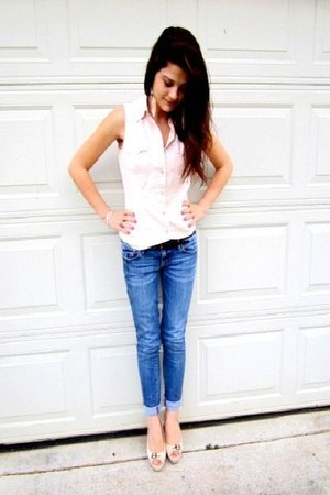 nude Rue 21 heels - blue skinny crops american eagle outfitters jeans