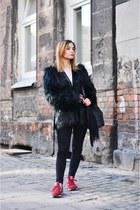 black Balmain x H&M jacket - white Zara shirt - black Stradivarius bag