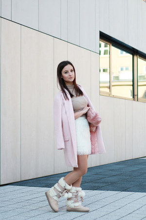 light pink Sheinside coat - bubble gum Stradivarius bag - tan Zara blouse