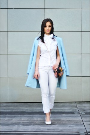sky blue Zara coat - hot pink PERSUNMALL bag