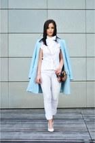 sky blue Zara coat - hot pink PERSUNMALL bag