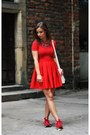 Red-zara-blouse-red-new-balance-sneakers