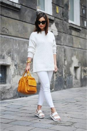 cream Mango sweater - mustard H&M bag