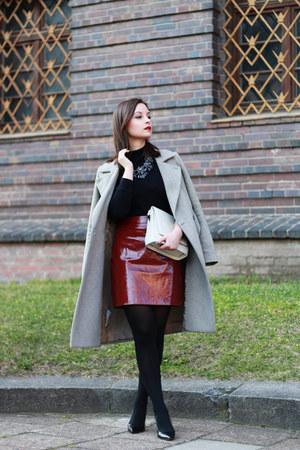 black c&a blouse - maroon Zara skirt