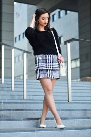 white Mango skirt - black c&a blouse